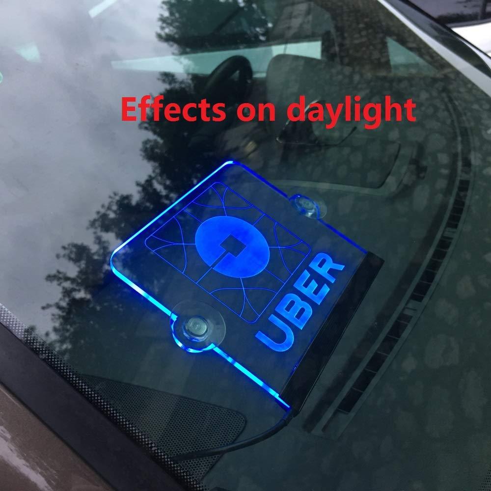 Uber Lyft Combined LTD HONGKONG HC INDUSTRY CO Uber Lyft Sign for car for Driver Acrylic Engraving Sign 12V 3 Flashing Models 6.6 feet Cord