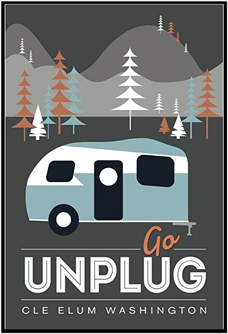 Amazon.com: Cle Elum, Washington - Go Unplug - Retro Camper - Vector (24x36  Framed Gallery Wrapped Stretched Canvas): Wall Art