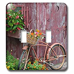 3dRose Danita Delimont - Bicycles - Old bicycle with flower basket next to garden shed, Illinois - Light Switch Covers - double toggle switch (lsp_259309_2)