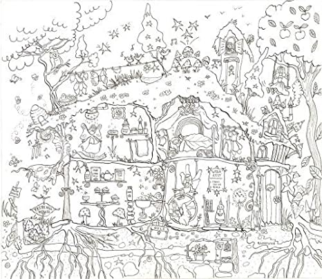 Amazon.com: Really Giant Posters Fairy House Coloring Poster ...