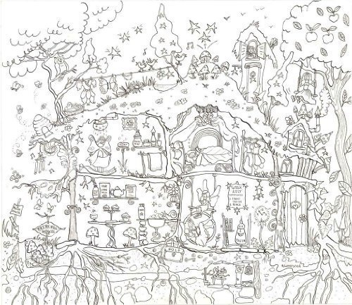 Fairy House Colouring Poster - Giant Size: 100 x 75 cm Really Giant Posters