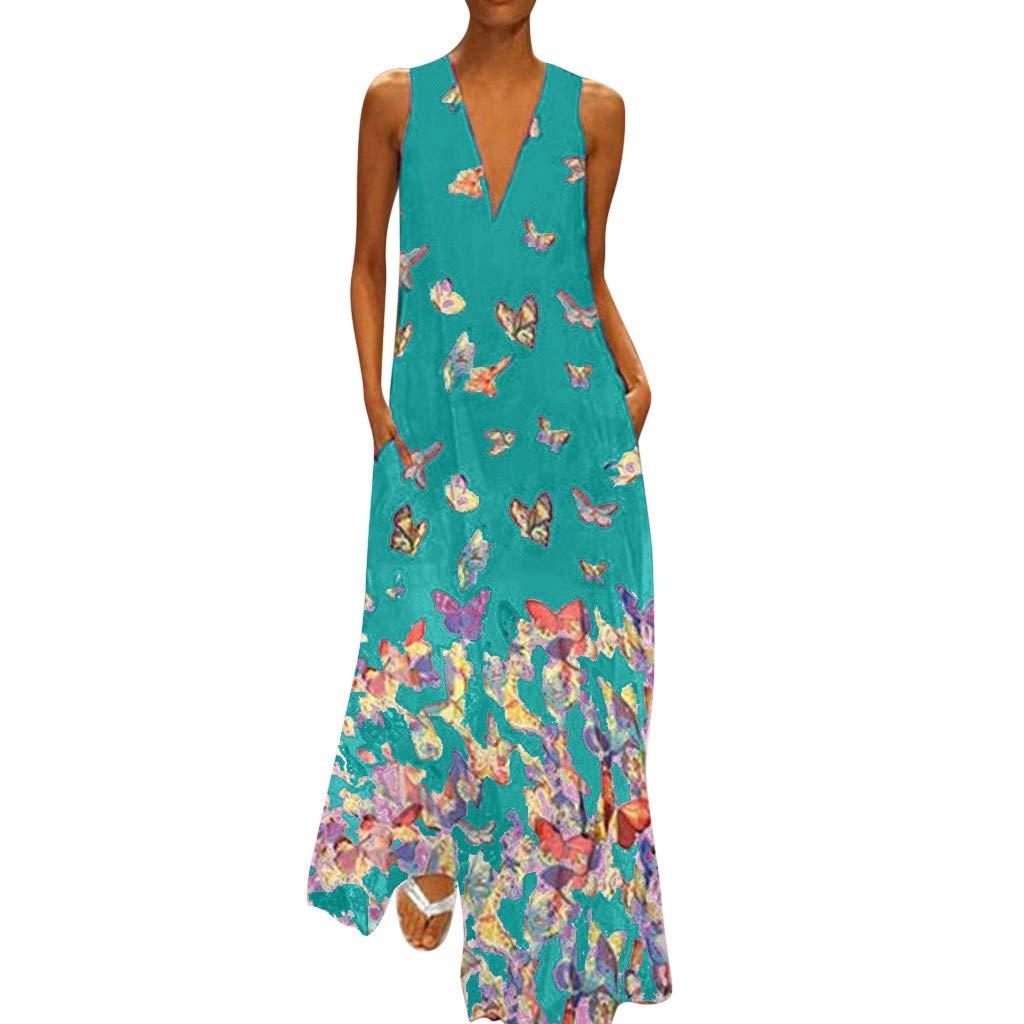 Women Loose Dress Casual Summer Butterfly Sunflower Folk Print V-Neck Ethnic Bohemian Oversize Caftan Long Maxi Dress by Franterd