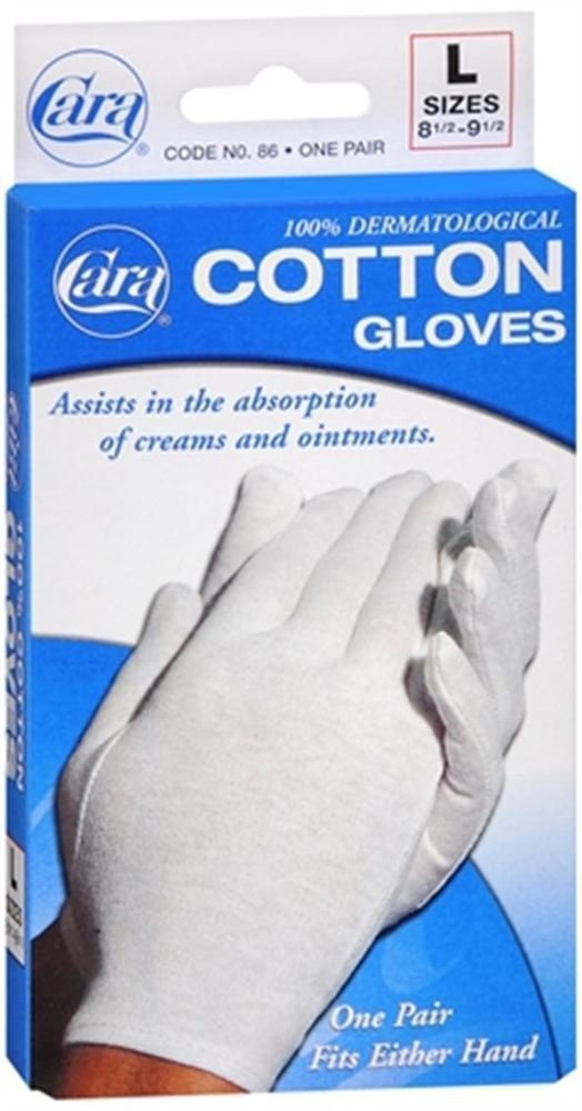 Cara Dermatological Cotton Gloves Men, Large 1 pair by Cara (Pack of 2)