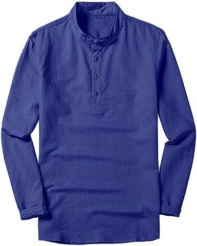 Camisa de algodón Fresca y Transpirable para Hombre con Cuello Alto y Manga Larga Camisa Hombre de Color sólido Camisa Casual Cierra de botón Camisa de Estilo Simple: Amazon.es: Ropa y accesorios