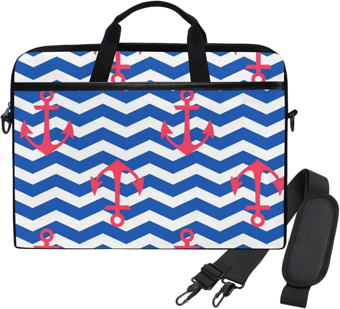 WIHVE 14 Inch Laptop Case Geometric Nautical Anchors Blue Chevron Laptop Shoulder Bag Carrying Case with Strap for Women and Men