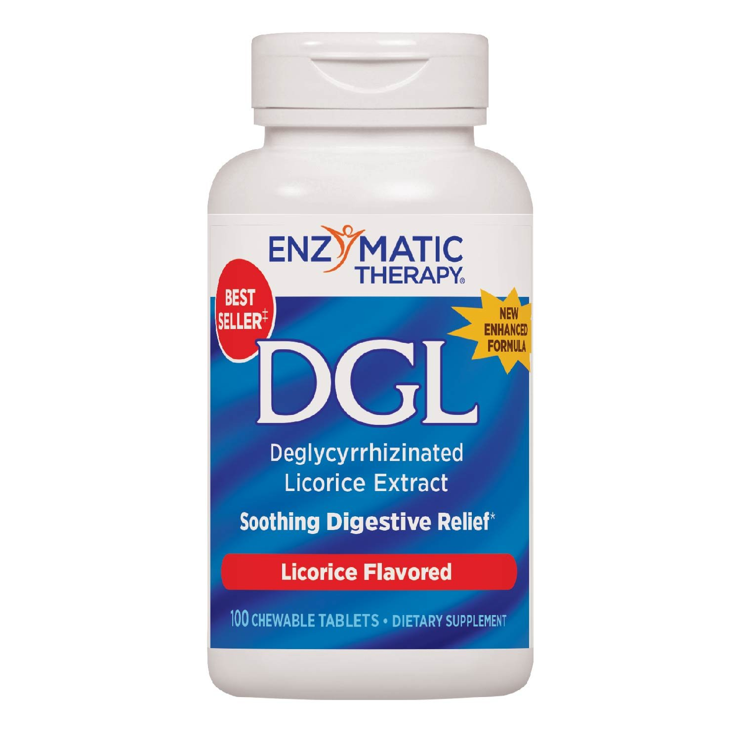 Enzymatic Therapy DGL, Licorice Flavor, 100 Chewable Tablets. Pack of 1 Bottle
