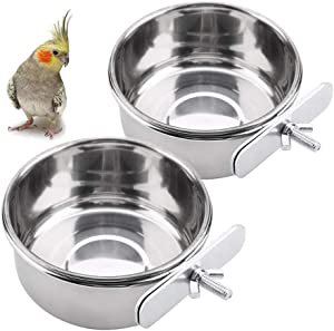 Bird Parrot Feeding Cups,Birds Food Dish with Clamp Holder Cage Hanging Bowl Stainless Steel Food Water Parrot Feeder Cup for Cockatiel Conure Budgies Parakeet Macaw Small Animal Chinchilla Pack of 2