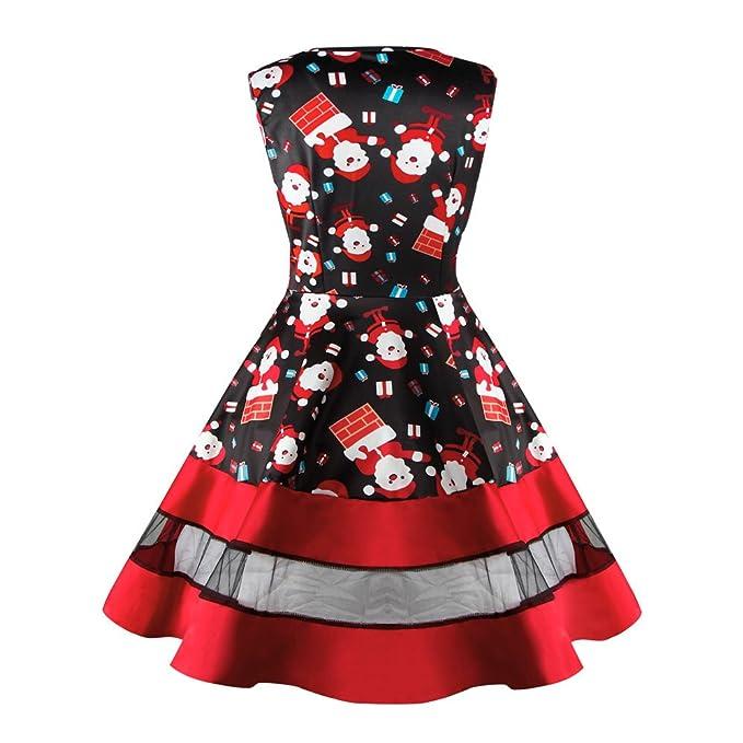 Cebbay Liquidación Navidad Faldas Mujer Vestido de Navidad Faldas largas Columpio Estampado Vintage sin Mangas Faldas