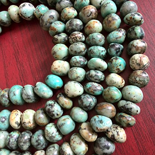 Nugget Jewelry (Natural Green Turquoise Bead Freeform Beads 8mm - 10mm Beads 15 inches Strand Nugget Turquoise Gemstone Beads for Making Jewelry)