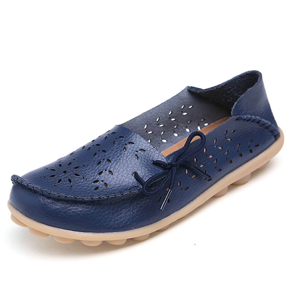 Blivener Women's Casual Lace-up Loafers Hollow Flat Shoes Summer Slippers Dark Blue US 9.5