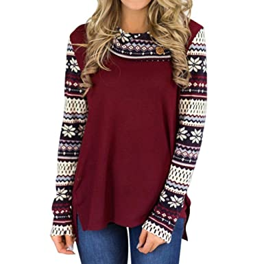 Longra Damen Oberteile mit Blume Druck Rundhals Langarm Shirt Sweatshirt Pullover  Damen Elegant Festliche Blusen Rote aa0f001c06