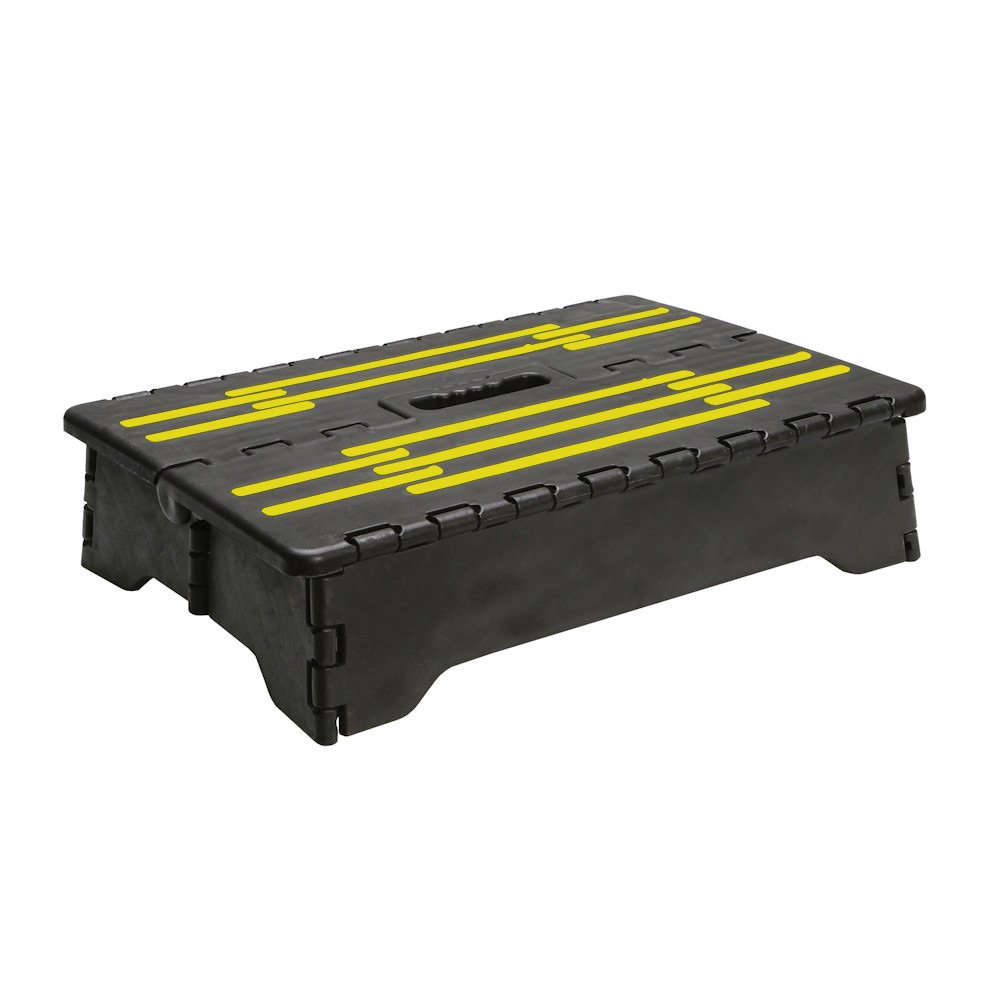 Portable Folding Riser Step with Safety Improvements - Reach Items with Ease - Gray and Yellow