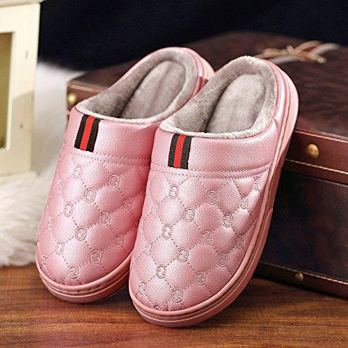 CWAIXXZZ pantofole morbide Paio di pantofole di cotone uomini pelle pu di spessore impermeabile home home interno anti-slittamento su le pantofole caldo inverno ,38-39 adatto a grandi (37-38), il ross
