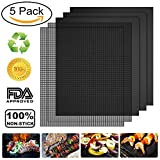 Vivibel 5 Pack BBQ Grill & Mesh Mats?100% Non-stick 3 Grill Mats and 2 Mesh Mats for Steaks,Vegetables, Fish, Shrimp,FDA-Approved, Reusable and Easy to Clean,15.75 x 13 Inch