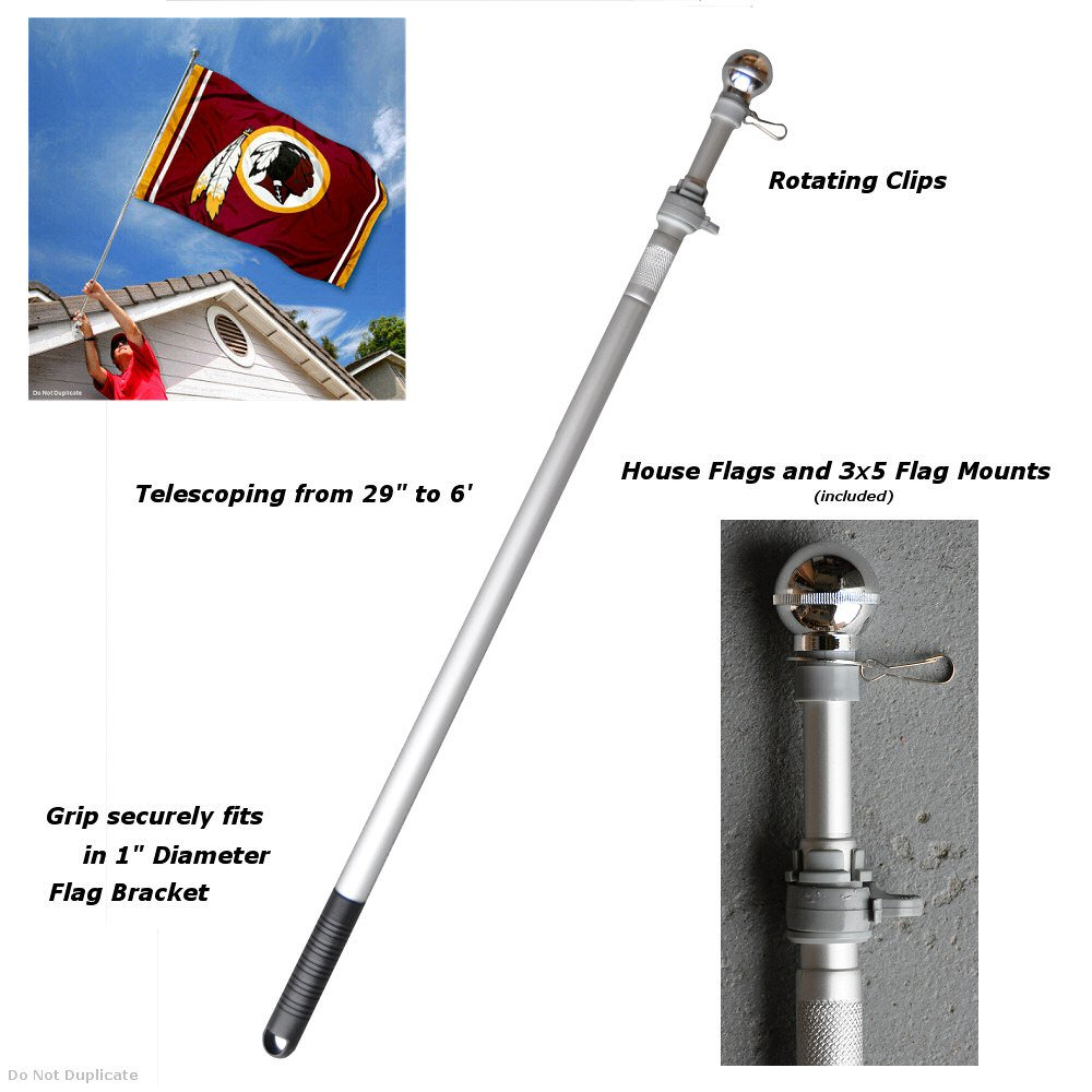 Sports Flags Pennants Company 6 Foot Flag Pole Aluminum Spinning Flagpole Grommet House Flag