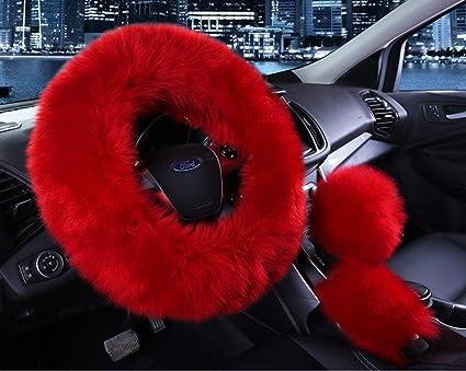 amazon com universal 3 in 1 furry steering wheel cover wool furuniversal 3 in 1 furry steering wheel cover wool fur handbrake cover fit most car burgundy