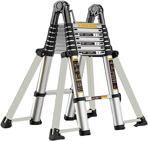 HYDT Escalera telescópica Multiusos para el hogar Diario o Pasatiempos, Escalera de Aluminio portátil Antideslizante de 8 pies, 4.84m-6.4m (Size : 4.84m/15.88ft(2.5m+2.5m)): Amazon.es: Hogar