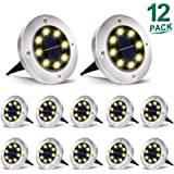 Aogist Solar Ground Lights,8 LED Solar Lights Outdoor Disk Lights Garden Lights Waterproof Patio Outdoor Light with Light Sensor for Lawn,Pathway,Yard,Driveway,Step and Walkway (Warm White)