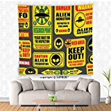 VROSELV custom tapestry Outer Space Decor Tapestry Warning Ufo Signs with Alien Faces Heads Galactic Paranormal Activity Design Wall Hanging for Bedroom Living Room DormYellow