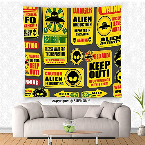 VROSELV custom tapestry Outer Space Decor Tapestry Warning Ufo Signs with Alien Faces Heads Galactic Paranormal Activity Design Wall Hanging for Bedroom Living Room DormYellow by VROSELV