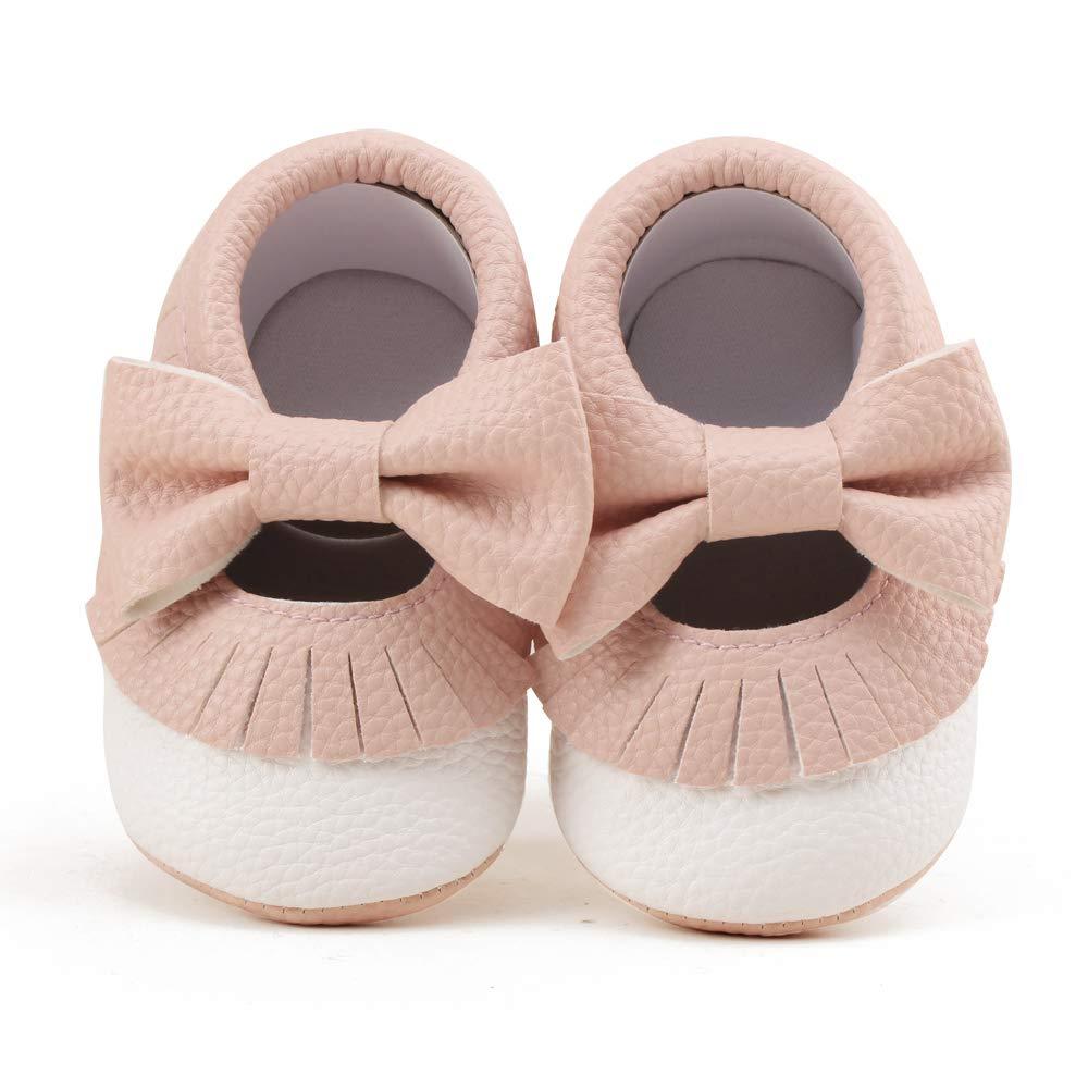 OOSAKU Bebes Ni/ñas Suela Blanda de Cuero de PU Mocasines Antideslizantes peque/ños Prewalker Zapatos de Cuna con Borla Bowknot