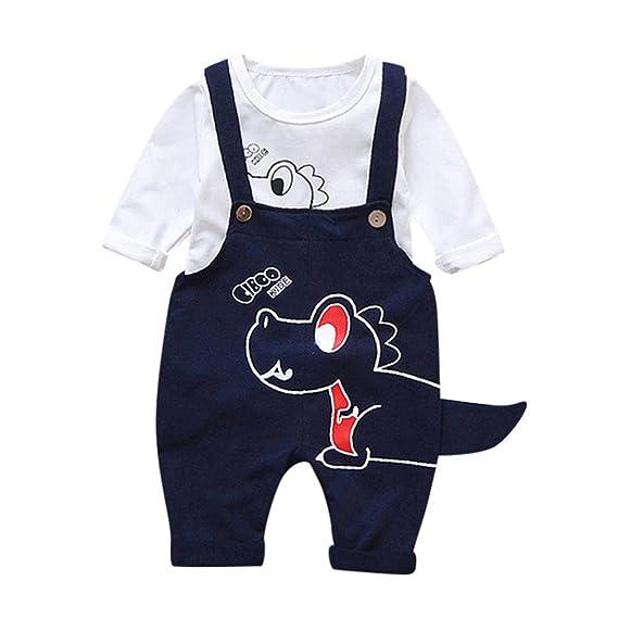 Baby Kleidung Set 2pcs Kleinkind Baby Jungen Madchen Cartoon Dinosaurier Tops Hosentrager Hosen Outfits Set Langarm Herbst Winter Hoch Qualitat