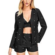 D-Sun Women Casual Open Front Pearl Beaded Long Sleeve Blazer Shorts 2 Piece Set