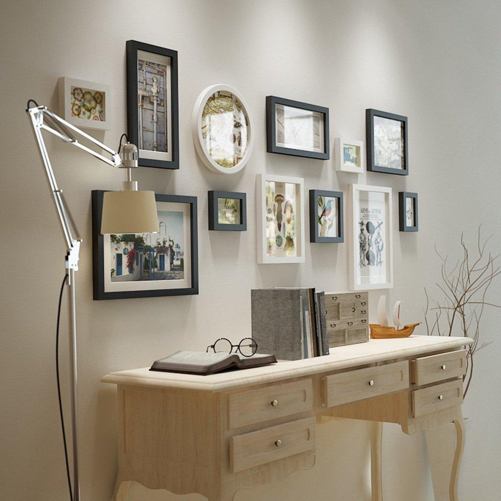 Unbekannt Fotorahmen aus Massivem Holz, Bilderrahmen Kombination Schwarz und Weiß Hintergrund Wand Fotowand Include Bilder, Set von 12 Frames (Farbe   Weiß+schwarz)