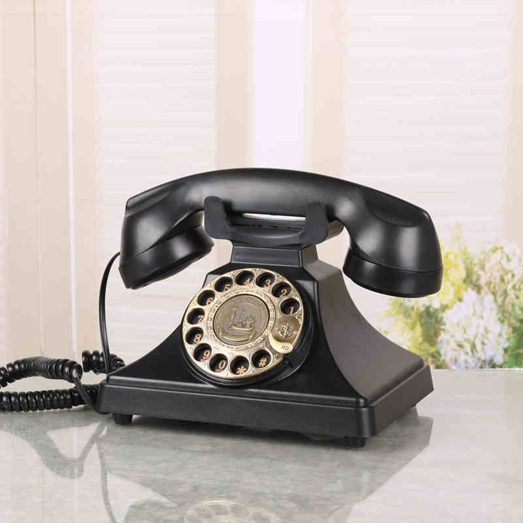 LCM Corded Telephone European Antique Phone Answering Machine American Retro Desk Desk Home Office Phone Ferrous Metal Rotation Setting Answering Machine by LCM