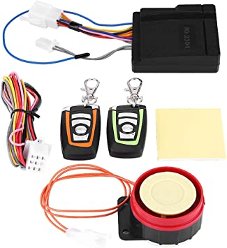 Bike Car Anti-theft Security Alarm,ABS 12V 125DB Anti-trimming and Waterproof Burglar System with Double Color Remote Control and Shock Sensor for Motorbike Tricycle etc