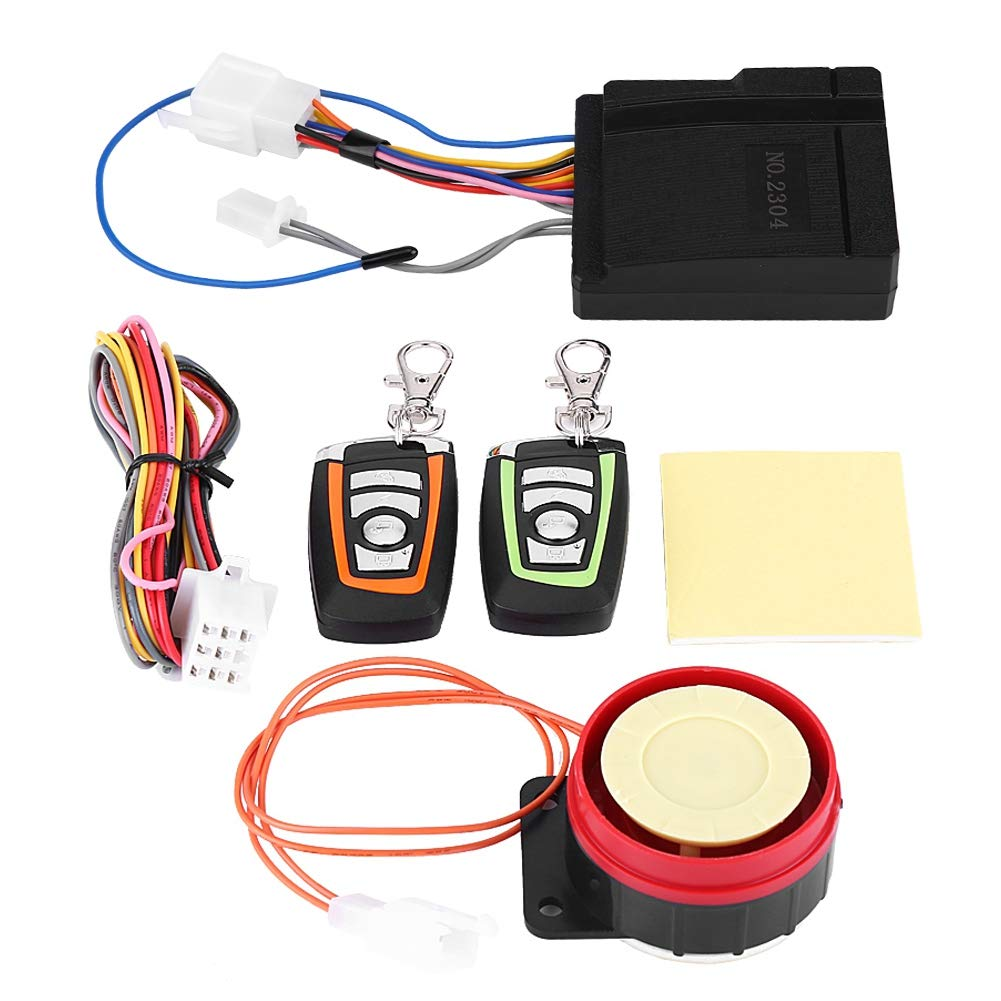 Car Anti-theft Security Alarm,ABS 12V 125DB Anti-trimming and Waterproof Burglar System with Double Color Remote Control and Shock Sensor for Motorbike Tricycle etc Bike
