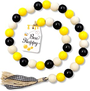 Bee Wood Bead Garland with Tassels, Honeybee Wood Bead Spring Summer Rustic Farmhouse Home Decorations for Tiered Tray Shelf Rae Dunn Displays (Yellow & Black)