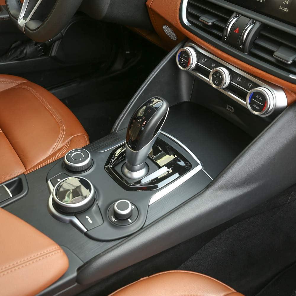 LLKUANG Gloss Black for Alfa Romeo Giulia Stelvio 2017-2019 Replacement ABS Plastic Interior Center Console Gear Shift Panel Cover Trim