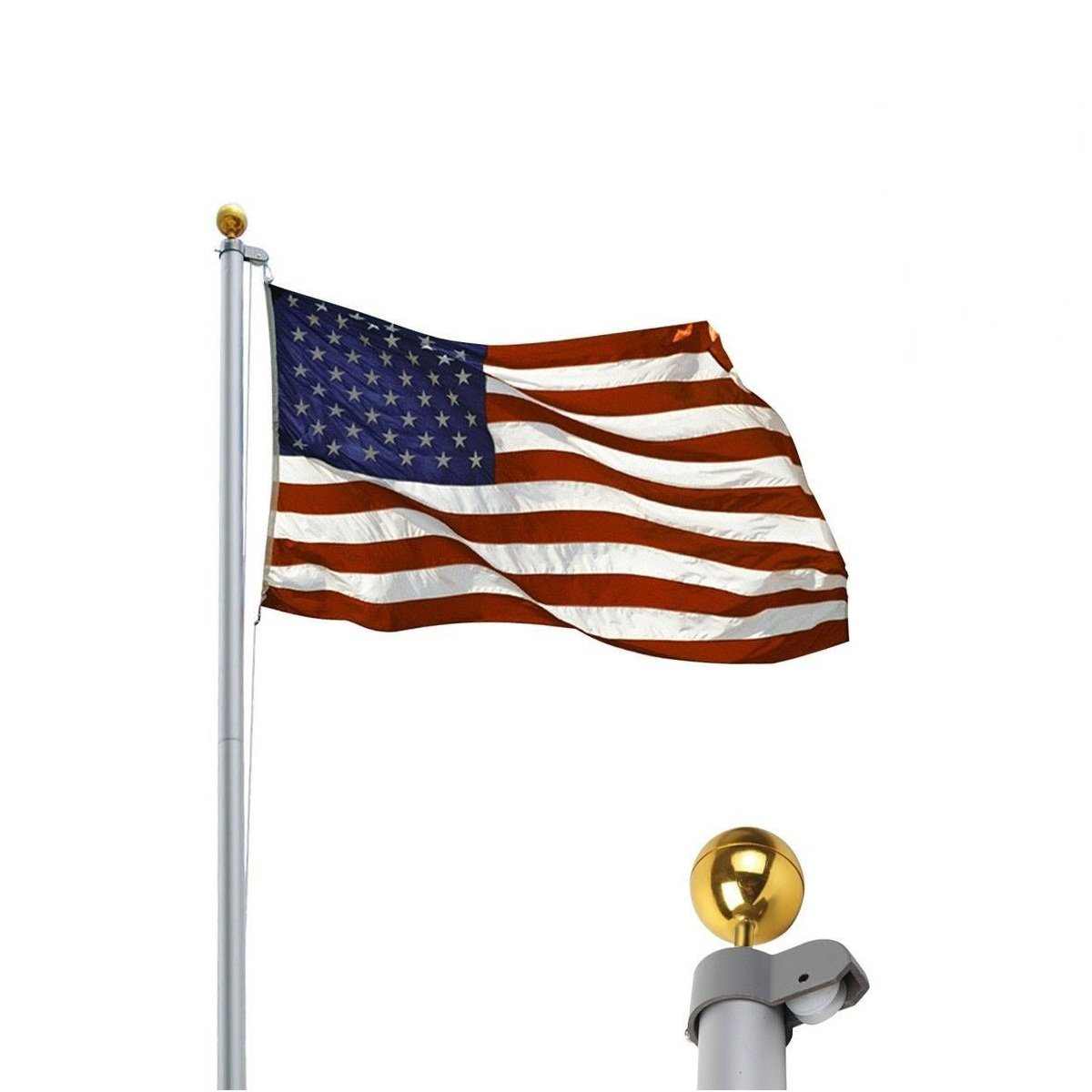 Halyard Rope 25FT Aluminum Sectional US Flagpole Kit America Flag w/ Gold Ball Finial