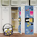 Denim School Supplies Locker Decal Decoration and Emoji Patches