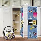 Denim School Supplies Locker Decal Decoration and Emoji Patches