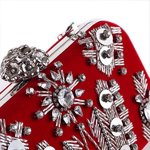 Bolso con Monedero Diamantes Color de JOYIYUAN de Red de Cuentas Embrague de Bolso Noche Red Cuentas de con de Noche qdTt7a