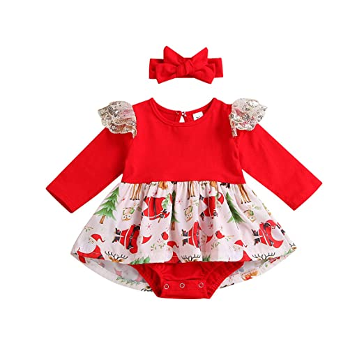 7d4811b45aa Amazon.com  Baby Girl My First Christmas Outfit Newborn Print Romper Santa  Print Jumpsuit with Tutu Dress and Headband Clothes Sets  Clothing