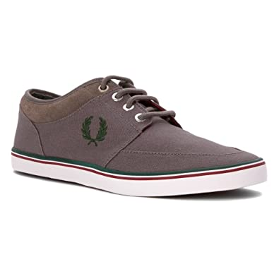 Fred Perry Men's Stratford Canvas Sneaker Mid Grey/Ivy/Maroon ...