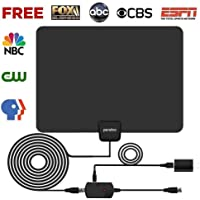 HDTV Antenna, 2019 Indoor Digital TV Antenna 60 Miles Range with Amplifier Signal Booster,4K 1080p HD High Reception with USB Power Supply & 16.5FT Coax Cable