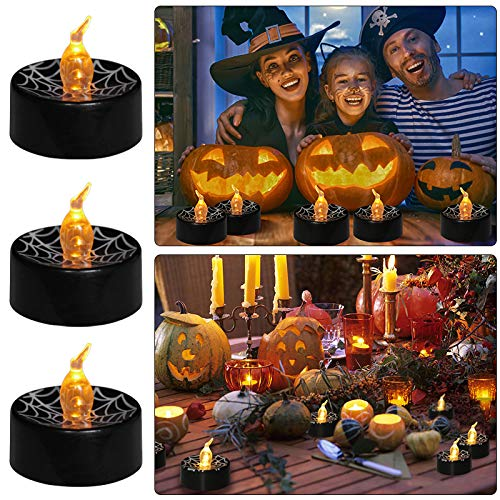 Youngerbaby 12 Pack Spider Web Black Tea Light Battery Operated 1.4 Inch Flickering Amber Mini LED Candles for Halloween Party Decoration Wedding Centerpiece Birthday Party Favor Holiday Tealight