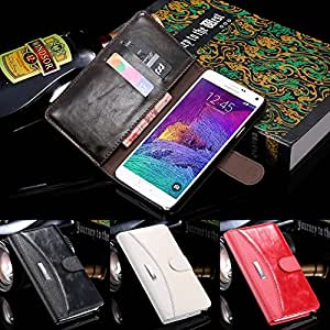 10pcs/lot Business Retro Luxury Wallet Stand Flip Clap Case for Samsung Galaxy Note 4 IV N910 Custom Cover Bag PU Leather R04876 --- Color:Brown