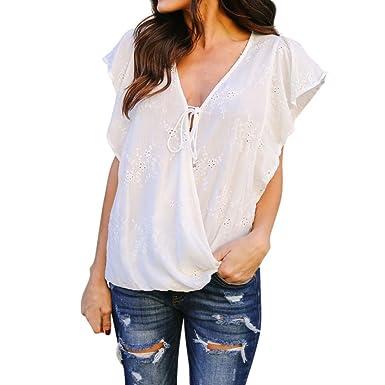 f4c8e6b8cbcc5b BSGSH Women's Summer Tops Deep V Neck Wrap Hollow Out Ruffle Short Sleeve  Blouses Shirt (