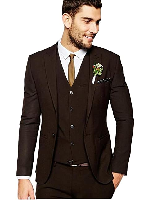 Coffee 3 Pieces Peak Lapel Men Suit Business Suit Single ...
