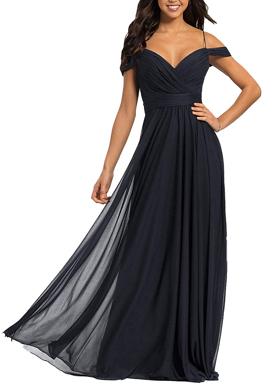 Navy bluee Women's V Neck Cold Shoulder Bridesmaid Dress Long Prom Gown Party Maxi Skirt