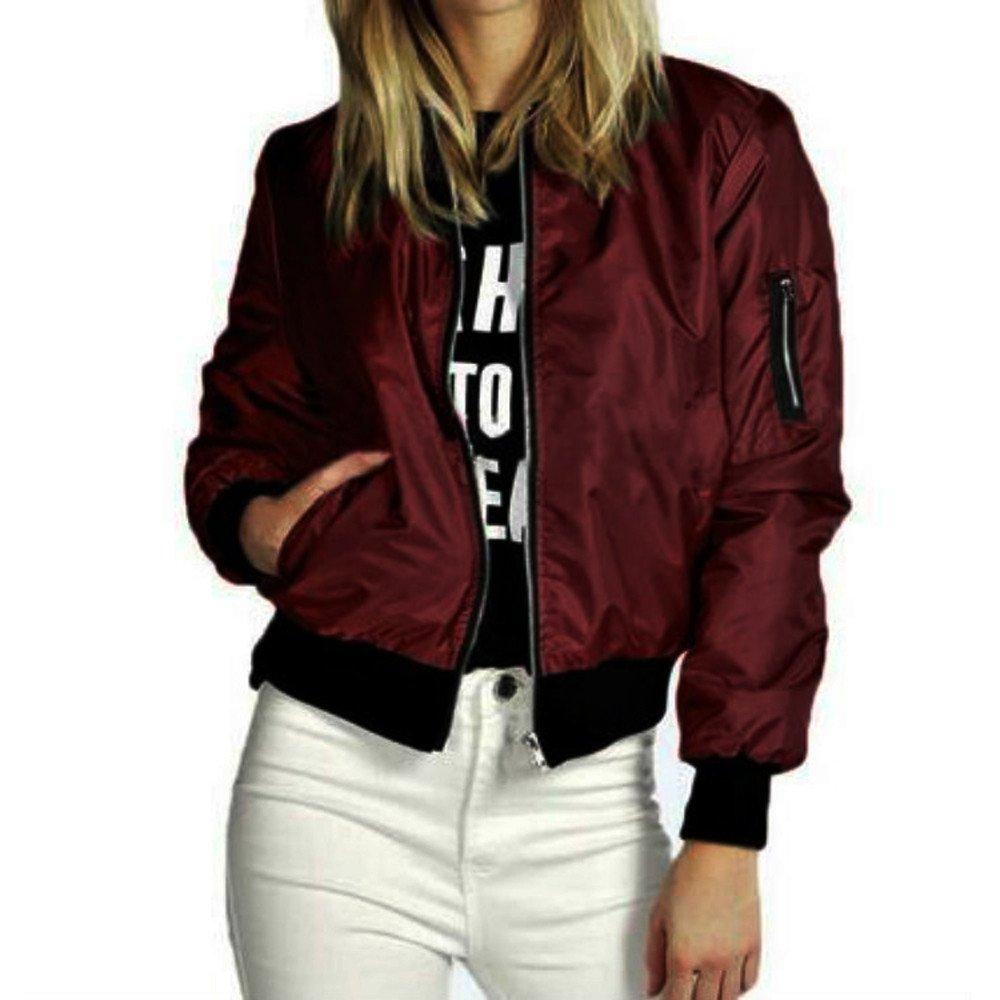 JESPER 2018 New Women Slim Short Bomber Jacket Coat Soft Zipper Biker Motorcycle Wine by JESPER