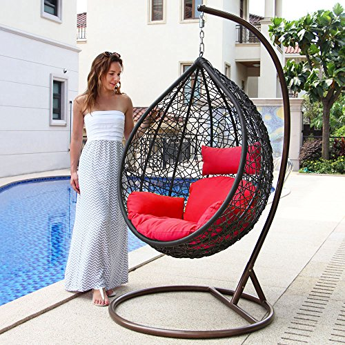 Island Gale Hanging Basket Chair Outdoor Front Porch Furniture with Stand and Cushion (Brown Wicker, Red Cushion)