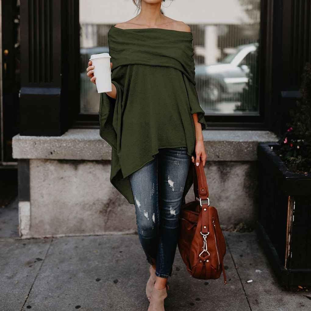 Harmily Women Casual Off Shoulder Handkerchief Irregular Hem Side Slit High Low Tunic Shirt Tops