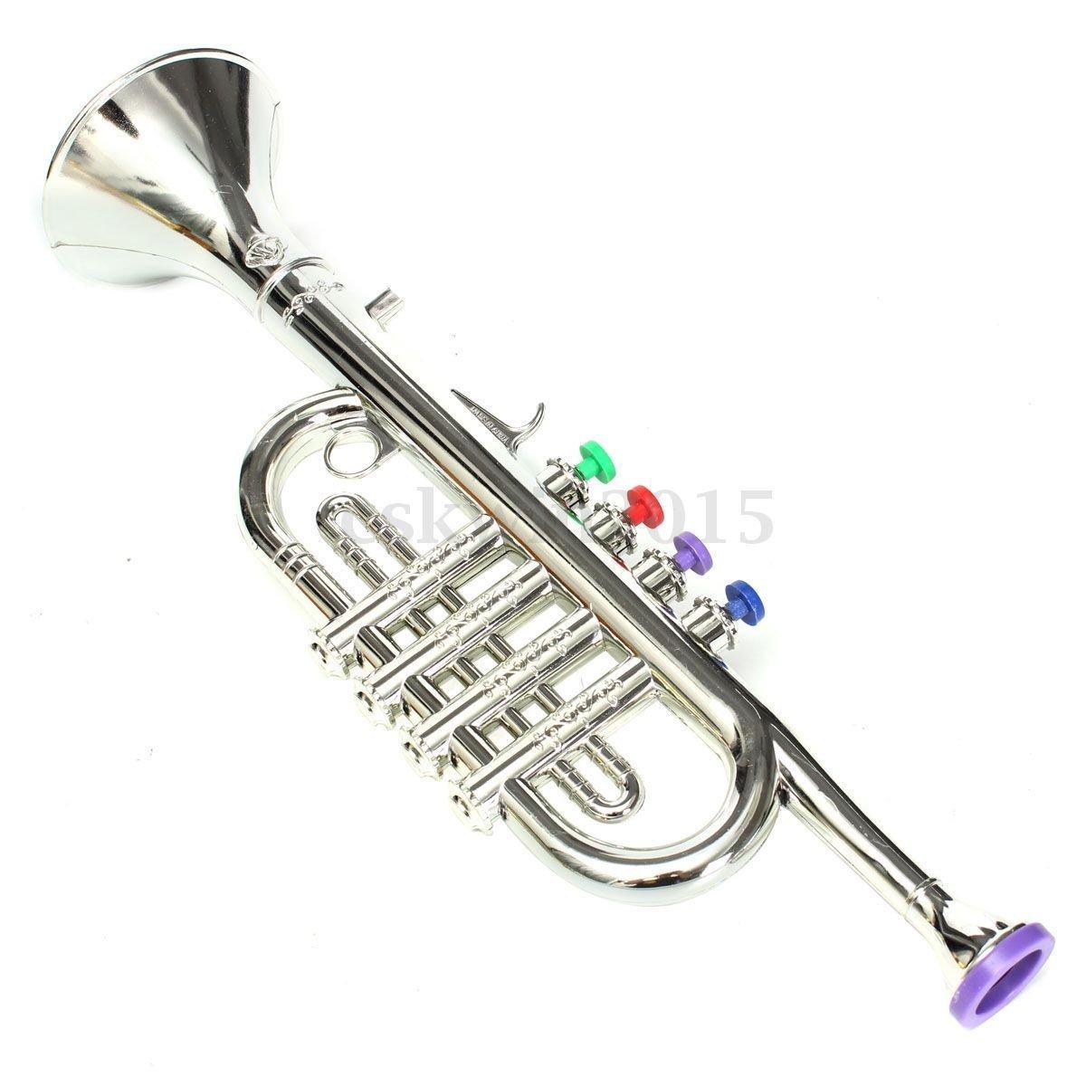 MAZIMARK-Emulational Trumpet Bugle Horn developmental children's toy Gift Stage props (silver)