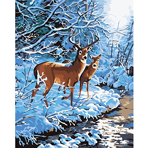 Souarts Diy Oil Painting Paint By Number Kit Christmas Deer Elk 16x20 Inch